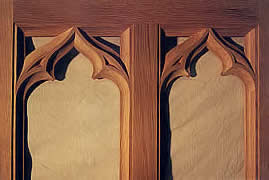 Gothic tracery in white oak.
